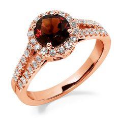Jewelers Enterprise - Round Cut Garnet and Diamond Halo Engagement Ring                              , $953.99 (http://www.jewelersenterprise.com/round-cut-garnet-and-diamond-halo-engagement-ring/)