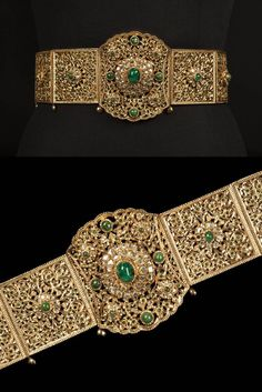 Morocco - Fez   Wedding belt; gold and emeralds.   c. 2nd half of the 20th century   Est. 2'000 - 3'000€ ~ (Oct '15)