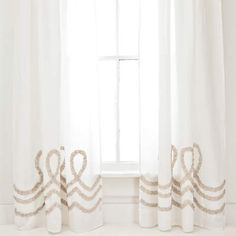 Ruched Linen White/Platinum Window Panel at Pine Cone Hill  #ruched #neutrals #curtains
