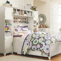 55 Adorable Teenage Girls Bedrooms Show Up Sweet Personality : Bedroom  Design White With Floral Patterned Blanket For Teenage Girls