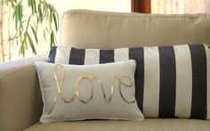 Gold Sequined Love Cushion on etsy