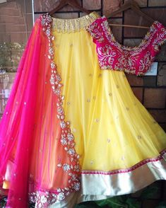 yellow georgette beautiful ceremonial lehenga choli - Fabric :Georget lehnga with stone & Zari work ( 3 metre flair )Banglori satin blouse with zari work ( unstich )Georget duppata with zari & cutwork border Half Saree Lehenga, Lehnga Dress, Red Lehenga, Anarkali, Yellow Lehenga, Half Saree Designs, Lehenga Designs, Saree Blouse Designs, Long Gown Dress