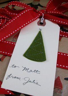 Christmas Tree Gift Tags, Christmas gift tags for 2013 Christmas, Felt Christmas Tree tags