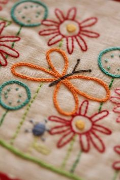Butterfly and Lazy Daisies are perfect combination to Embroider.