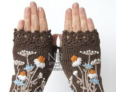 MADE TO ORDER in weeks Knitted Fingerless Gloves Chamomile Clothing And Accessories Gloves & Mittens Gift Ideas Accessories - April 13 2019 at Crochet Motifs, Crochet Mittens, Crochet Gloves, Knit Crochet, Crochet Granny, Wrist Warmers, Hand Warmers, Hand Knitting, Knitting Patterns