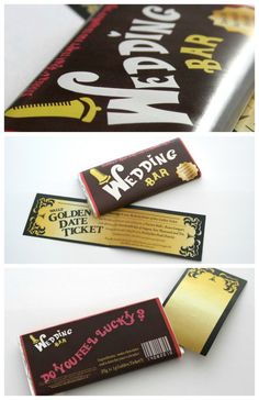 Love Charlie & the Chocolate Factory?  A chocolate bar save-the-date with a golden ticket
