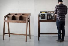 Sleek Vinyl Record Displays - The 'Record Display I' by Kai Takeshima Upscales Forgotten Furniture