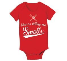 You're killing Me Smalls - NB 6m 12m 18m - funny retro movie xmas party baseball boy girl humorous new Infant - Baby Red ONE-PIECE DT0325 on Etsy, £8.19