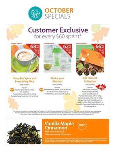 October Steeped Tea Customer Specials!!!  http://www.mysteepedteaparty.com/JAMMINTEA/