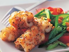A favourite Aussie starter dish, salt and pepper squid is beautiful enjoyed on it's own as an entree or accompanied with this fresh cucumber salad for a more substantial main meal. #yummy #salad #recipes