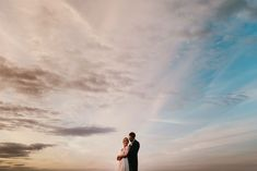 Bride and groom at sunset. Wedding portraits.  Norfolk wedding