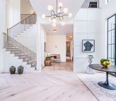 Love the color/design of the wood flooring. Want this overall look with white walls and wood floors throughout. Like the foyer and staircase design. Foyer Design, Staircase Design, Foyer Staircase, Dream Home Design, My Dream Home, Home Fashion, Decor Interior Design, Open Plan, Modern Farmhouse