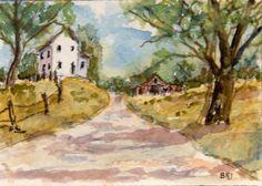 ACEO Rural Landscape Miniature Art Card, Farm, Original Watercolor, B. Jones #Miniature