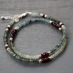 Moss aquamarine necklace, gemstone beaded necklace, garnet necklace, statement necklace, beaded necklace, gemstone layering necklace