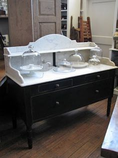 Marble topped patisserie table.