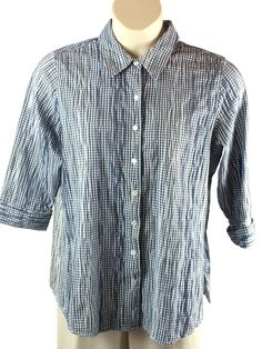 Womens Coldwater Creek Pleated Button Front Shirt Plus Size 1X Blue Gingham…