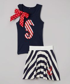 Love this Beary Basics Navy Sea Horse Tank & Stripe Skirt - Infant, Toddler & Girls by Beary Basics on #zulily! #zulilyfinds