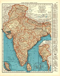 Old british map of the indian subcontinent old maps to pin beautiful 1931 detailed map of vintage india for decor ephemera print to frame gumiabroncs Images