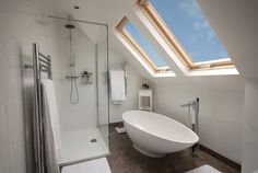 Loft bathroom with velux windows Attic Renovation, Loft Bathroom, Bathrooms Remodel, Loft Room, Dormer Loft Conversion, Bedroom Loft, Loft Spaces, Urban Interiors, Renovations