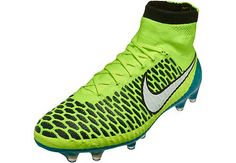 Nike Womens Magista Obra FG Soccer Cleats - Volt and Blue Lagoon. Get it at www.soccerpro.com today!