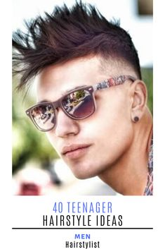 : 40 Teenager Hairstyle Ideas : Discover the most trending hairstyles for teenagers and learn how to style them Teen Boy Haircuts, Teenage Hairstyles, Haircuts For Men, Messy Hairstyles, Hairstyle Ideas, Mirrored Sunglasses, Mens Sunglasses, Side Swept Bangs, Trending Hairstyles