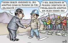 El trazo de Carlín sobre el oro, la minería informal y el Estado impotente.