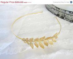 SALE 30% OFF Gold Grecian  leaf Headband for your wedding. $24.50, via Etsy.