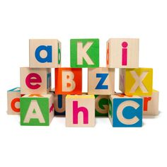 ABC Wooden Blocks by Uncle Goose. High quality- 14 block set, with one complete embossed uppercase alphabet and one complete printed lowercase alphabet.