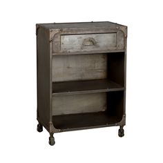 Your bedroom gets a unique makeover when you include this surprising one-drawer nightstand. Its rugged look comes from unconventional steel construction with a cool, aged industrial finish.  Find the Clarksburg Nightstand, as seen in the Nightstands Collection at http://dotandbo.com/category/furniture/bedroom/nightstands?utm_source=pinterest&utm_medium=organic&db_sku=100477