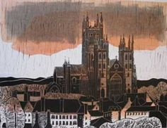 Robert Tavener Canterbury Cathedral - West Front Linocut on wove paper c. 1970 signed, titled and numbered in pencil 48 x (plate); Canterbury Cathedral, Collagraph, Landscape Prints, Wood Engraving, Woodblock Print, Painting & Drawing, Printmaking, Lino Prints, Block Prints