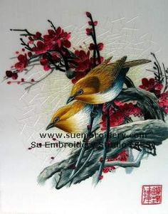 Chinese silk embroidery birds