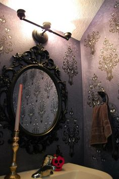 Best Disney Home Decor 2012 Winner: Becky's Haunted Mansion bathroom I love the mirror