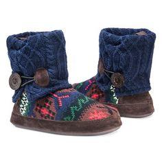 Women's Muk Luks Patti Fair Isle Sweater Knit Bootie Slippers - Dark Blue XL(11-12), Size: XL (11-12)