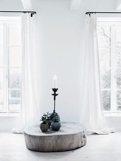 white / minimalist / long white curtains / wood / plants