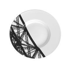 Assiette en Noir & Blanc, avec impression d'un détail de la Tour Eiffel. Edition Silodesign ® 2014.Tour Eiffel Paris plates & tableware.
