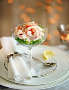 He makes a great prawn cocktail.  His recipe will be used for the starter