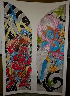 Raijin and Fujin Raijin Tattoo, Oni Tattoo, Irezumi Tattoos, Body Art Tattoos, Tattoo Drawings, Sleeve Tattoos, Japanese Tattoo Art, Japanese Tattoo Designs, Tattoo Tradicional