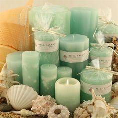 Seafoam color candle