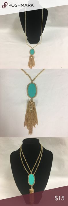 Long Necklace With a Blue Stone & Tassel Like new. Great condition Jewelry Necklaces