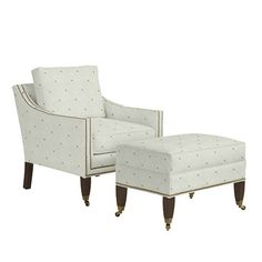 Griffin Club Chair And Ottoman With Aged Brass Nailheads