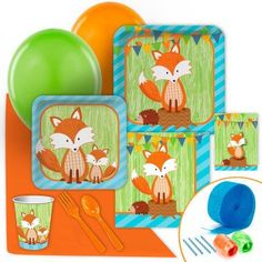 Woodland forest fox baby shower party supplies.