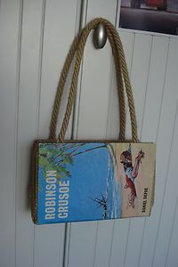 This one is pretty cute, with those little handles. I've tried to keep the fabric and handles to a kind of beachy/washed up theme to go with Robinson Crusoe :) What. Robinson Crusoe, Cute Handbags, Vintage Handbags, Kitsch, Cat Reading, Up Theme, Diy Tumblr, Handmade Handbags, Pretty And Cute