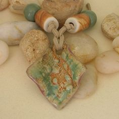 Handmade Stoneware Pendant in Greens and Orange 20%OFF SALE Sunday, Nov.9 & Monday, Nov.10 Coupon Code: PJGRANDOPEN20