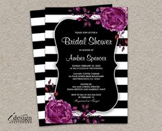 Floral Bridal Shower Invitation Elegant Diy Printable Black