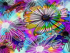 Psychedelic Flowers by RC-aRtY