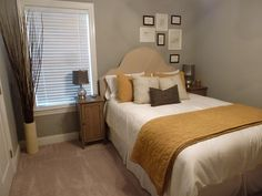 Simple Gray and Mustard Bedroom