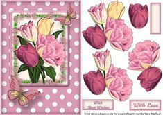 Pink Tulips Decoupage Card Front on Craftsuprint designed by Mary MacBean - Vintage tulips with butterflies on a dotty background. There are 2 sentiments or a blank tag for your own message making this card suitable for many different occasions.  - Now available for download!