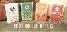 Ghost Poop, Witches Warts, Jack O'lantern Seeds, and Vampire Vitamins - Tic Tac Halloween Lables