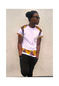 This t-shirt is made with premium Ultra Cotton as main material. It is of high quality and standard fit class. African print fabric Kitenge is