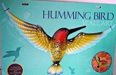 LARGE GIANT METAL HUMMING BIRD WALL ART INDOOR OUTDOOR GARDEN